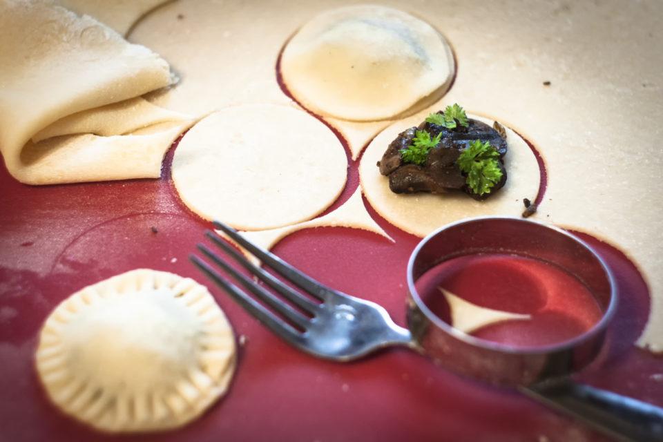 Příprava houbových raviol
